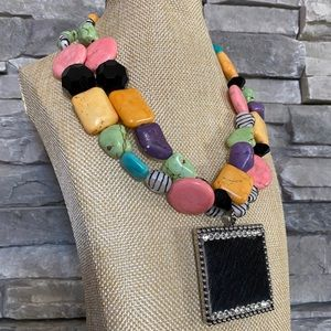 Chunky Beaded Necklace Large Faux Fur Pendant